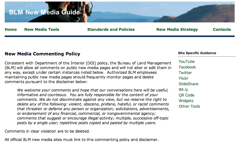 government social media policy