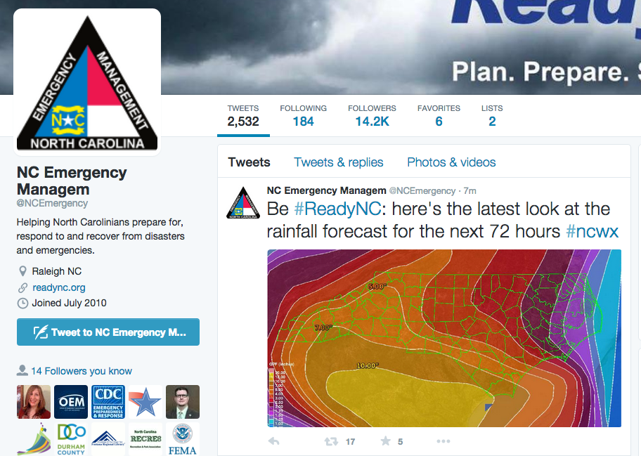 NC Emergency Management Twitter Feed