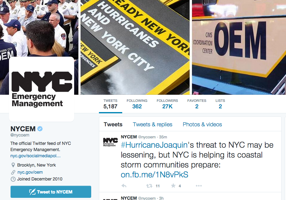 New York City Emergency Management Twitter Feed